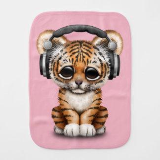 Cute Tiger Cub Wearing Headphones Burp Cloth