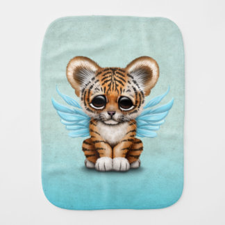 Cute Tiger Cub with Fairy Wings on Blue Baby Burp Cloth