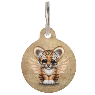 Cute Tiger Cub with Fairy Wings Pet Name Tags
