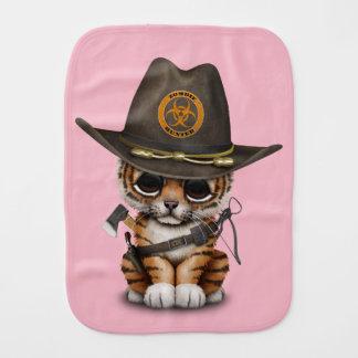 Cute Tiger Cub Zombie Hunter Baby Burp Cloth