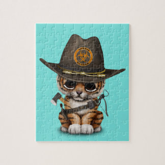 Cute Tiger Cub Zombie Hunter Jigsaw Puzzle