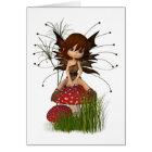 Cute Toon Autumn Fairy and Toadstool Card
