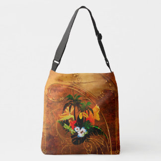 Cute toucan with flowers crossbody bag
