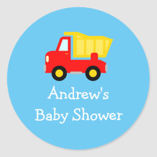 Cute toy dump truck baby shower stickers seals