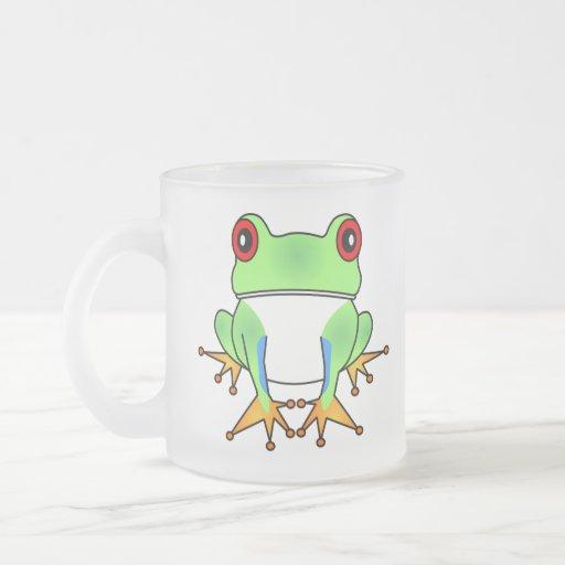 Cute Tree Frog Cartoon Frosted Mug - Customizable!
