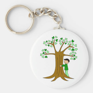 Cute Tree Hugger Design Key Ring