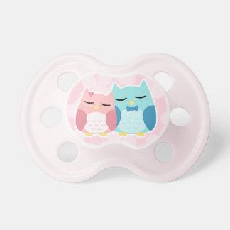 cute trendy cartoon vector owl couple pacifier