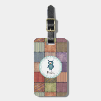 Cute Trendy fancy girly patchwork owl personalised Luggage Tag