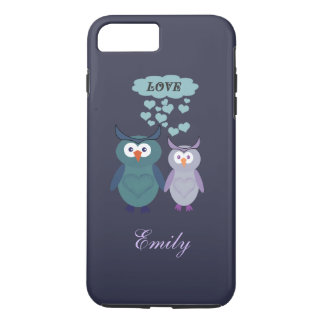 Cute trendy girly owl love couple personalized iPhone 7 plus case