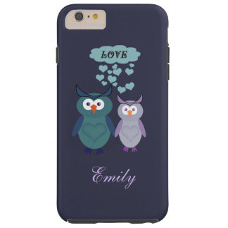 Cute trendy girly owl love couple personalized tough iPhone 6 plus case