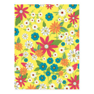 Cute trendy girly soft colours floral pattern postcard