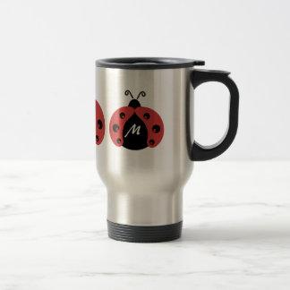 Cute trendy ladybug monogram travel mug