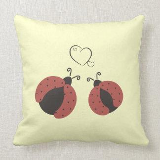 Cute trendy ladybugs love couple throw pillow