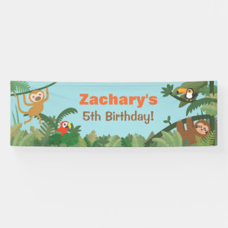 Cute Tropical Jungle Theme Animals Party Banner