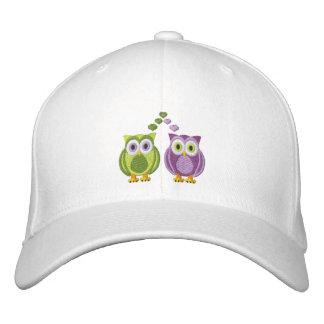 Cute True Love Owls Purple and Green Custom Baseball Cap