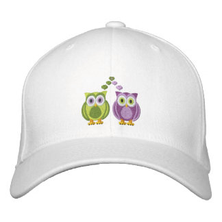 Cute True Love Owls Purple and Green Custom Embroidered Hats