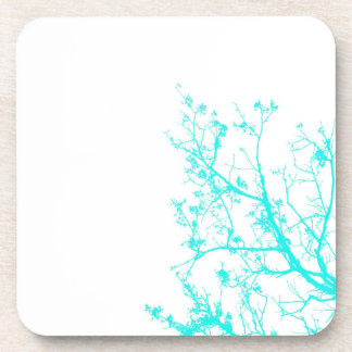 Cute Turquoise and White Tree Branch Graphic Coasters