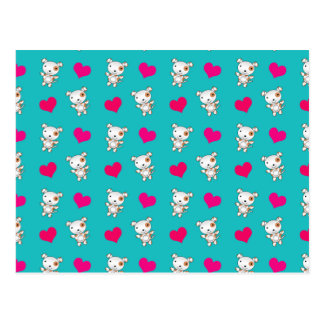 Cute turquoise dog hearts pattern postcard