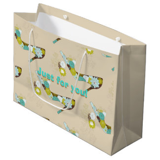 Cute Turquoise Flower High Heel Shoe Large Gift Bag