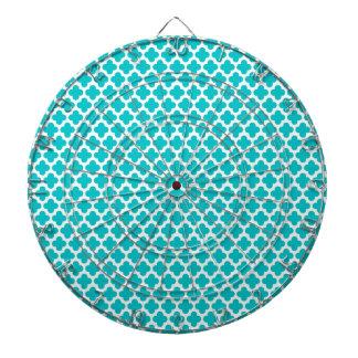 Cute Turquoise Quatrefoil Pattern Dart Boards
