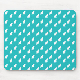 Cute turquoise white cat pattern mouse pad