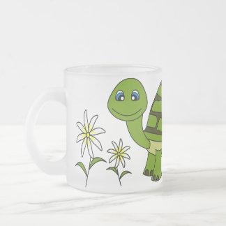 Cute Turtle Cartoon Frosted Glass Mug