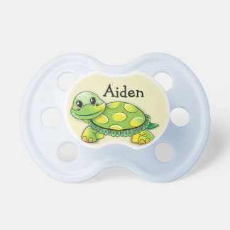 "Cute Turtle Yellow ""Aiden"" Pacifier Personalize it"