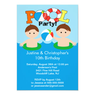 CUTE Twin Boys Pool Party Birthday Invitation