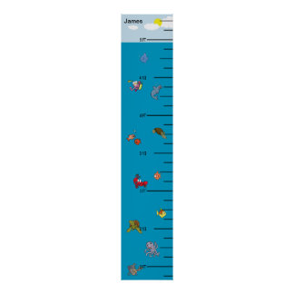 Cute Underwater Growth Chart Poster