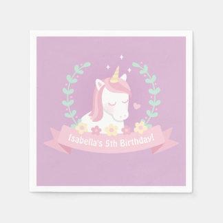 Cute Unicorn Flowers Girls Birthday Party Napkins Paper Serviettes
