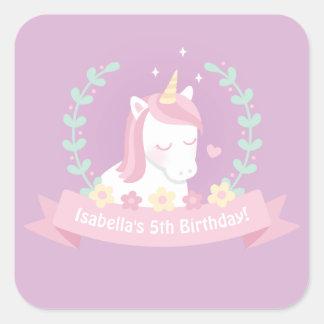 Cute Unicorn Flowers Girls Birthday Party Stickers