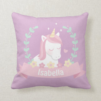 Cute Unicorn Flowers Wreath Girls Throw Pillow
