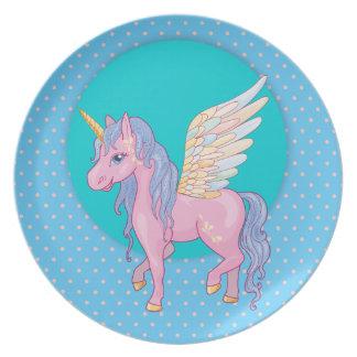 Cute Unicorn with rainbow wings illustration Plate