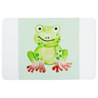 Cute Unisex Watercolor Frog & Baby Name Nursery Floor Mat
