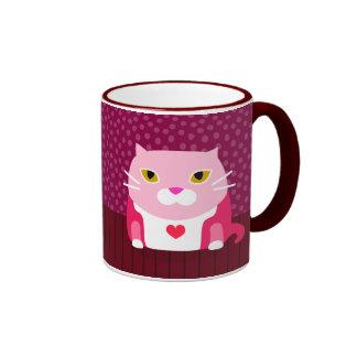Cute Valentine Cat Ringer Mug
