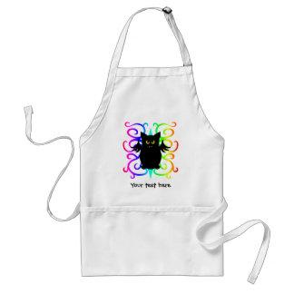 Cute vampire bat rainbow damask apron