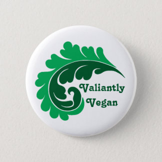 Cute vegan damask leaf motif 6 cm round badge