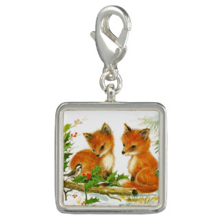 Cute Vintage Christmas Foxes
