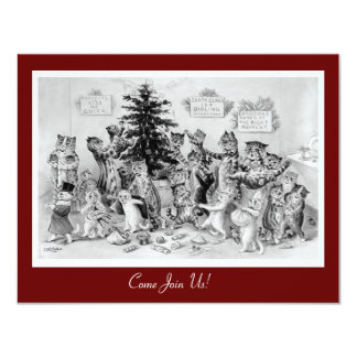 Cute Vintage Christmas Invitation - Cats by Wain