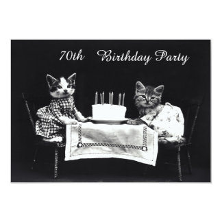 Cute Vintage Kittens 70th Birthday Party 13 Cm X 18 Cm Invitation Card