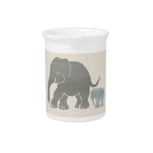 Cute Vintage Natural Colours Elephant with Baby Pitchers