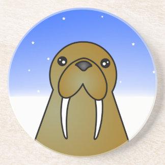 Cute Walrus Cartoon in the Snow Drink Coaster
