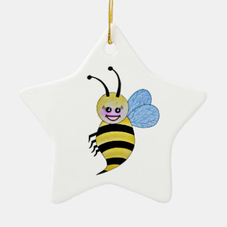 Cute Watercolor Bee With Happy Smile Christmas Ornament