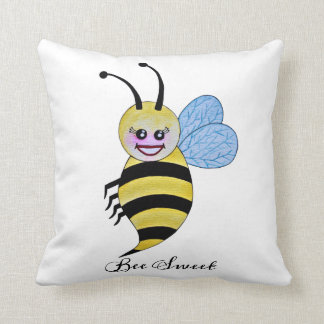 Cute Watercolor Bee With Happy Smile Cushion