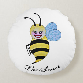 Cute Watercolor Bee With Happy Smile Round Cushion