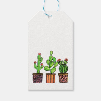 Cute Watercolor Cactus In Pots Gift Tags