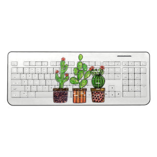 Cute Watercolor Cactus In Pots Wireless Keyboard