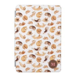 Cute Watercolor Dogs Illustrated Pattern iPad Mini Cover