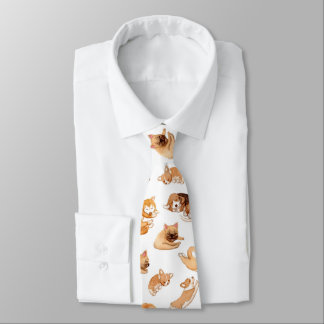 Cute Watercolor Dogs Illustrated Pattern Tie