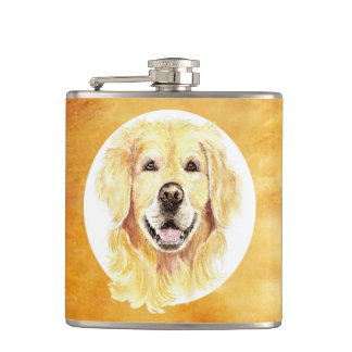Cute Watercolor Golden Retriever Dog Pet Animal Hip Flask